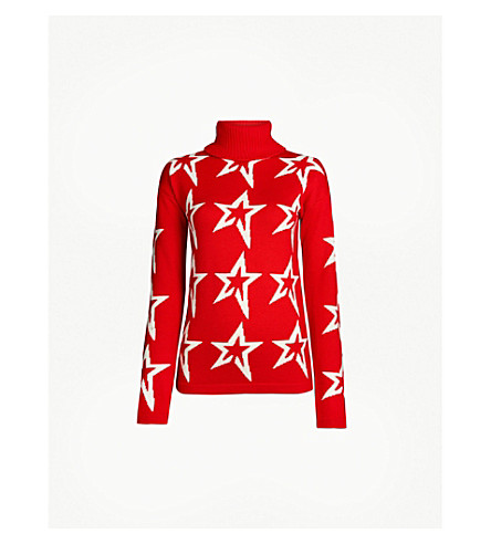 PERFECT MOMENT 星星灰尘灰羊毛毛衣 (红/雪白色星星