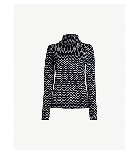 PERFECT MOMENT Zigzag wool jumper (Navy/snow white