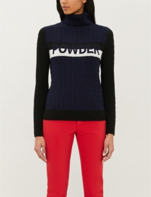 Text-intarsia turtleneck merino wool jumper