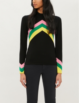Chevron-stripe merino wool jumper