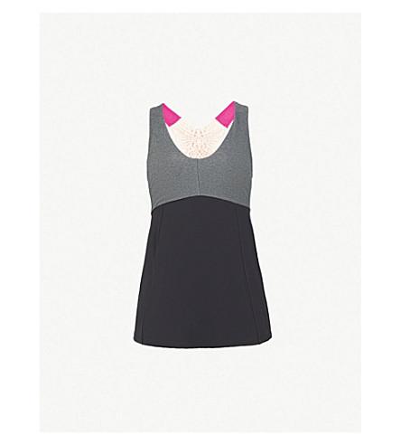 SAPOPA Tulipano 绣细节弹力平纹针织上衣 (黑色 + fucsia