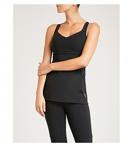 SAPOPA Pesca mesh and lace-panelled stretch top (Black