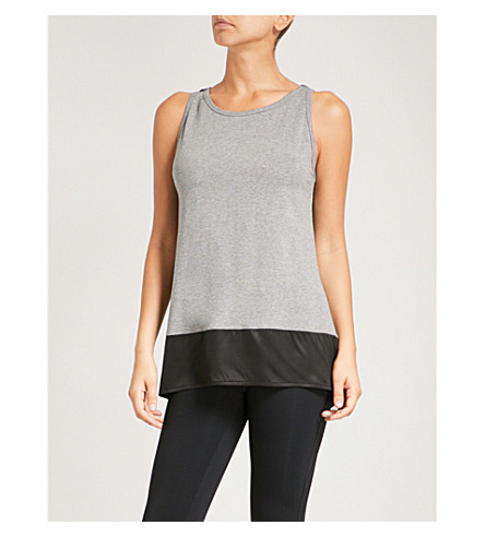 SAPOPA Satin-trimmed cotton-jersey top (Grey