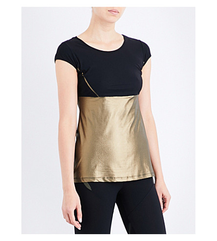SAPOPA Gioia stretch-jersey T-shirt (Gold