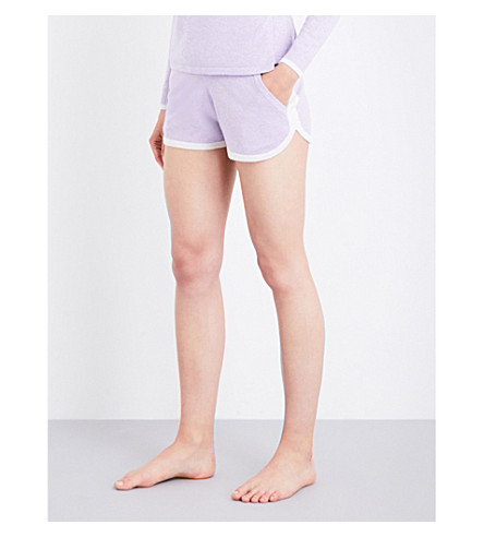 PEPPER & MAYNE Drawstring cashmere lounge shorts (Lilac