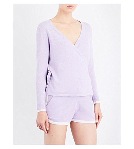 PEPPER & MAYNE Cashmere ballet-wrap cardigan (Lilac