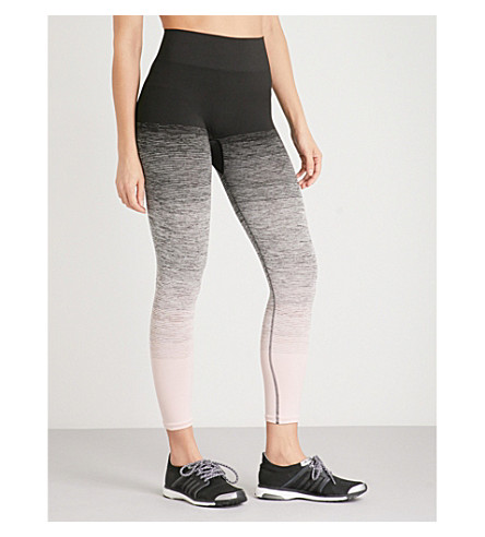 PEPPER & MAYNE Textured-print stretch-jersey leggings (Back+stage+blush