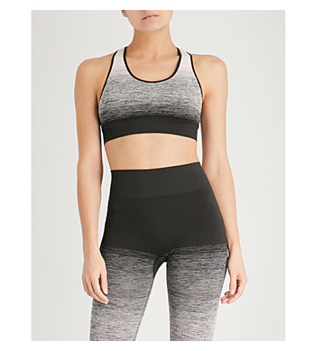 PEPPER & MAYNE Textured-print stretch-jersey cropped top (Back+stage+blush