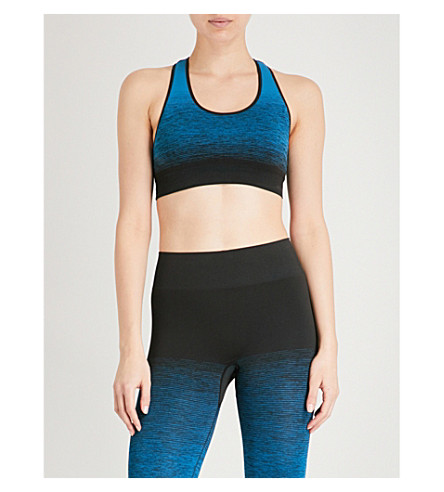 PEPPER & MAYNE Textured-print stretch-jersey cropped top (Poseidon