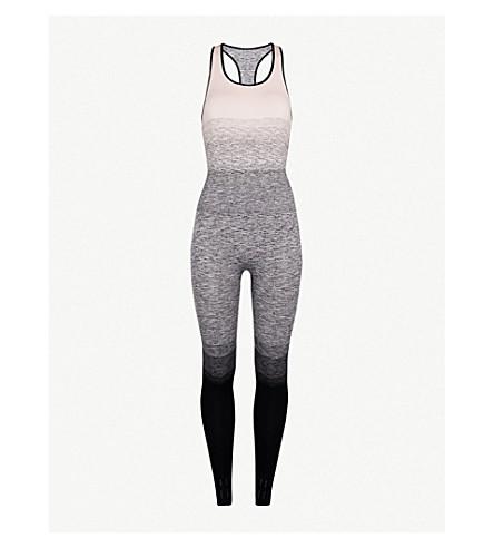 PEPPER & MAYNE Textured-print stretch-knit unitard (Back stage blush