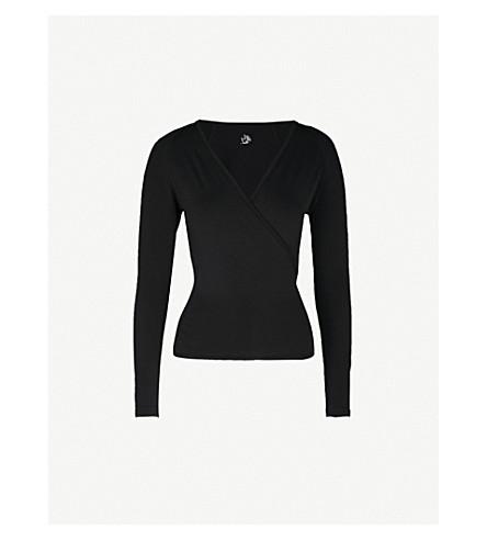 PEPPER & MAYNE V-neck stretch-jersey wrap top (Pitch black