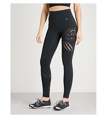 PEPPER & MAYNE Laser-cut stretch-knit leggings (Pitch+black