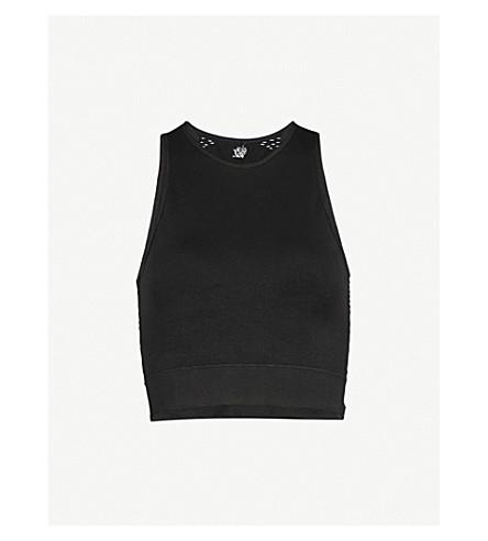 PEPPER & MAYNE Laser-cut stretch-knit cropped top (Pitch black
