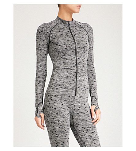 PEPPER & MAYNE Star-pattern stretch-knit jacket (Grey+space+dye