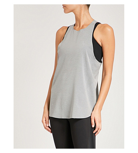 LNDR Run perforated stretch-jersey top (Grey+marl