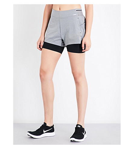 LNDR Run Double high-rise shorts (Grey+marl