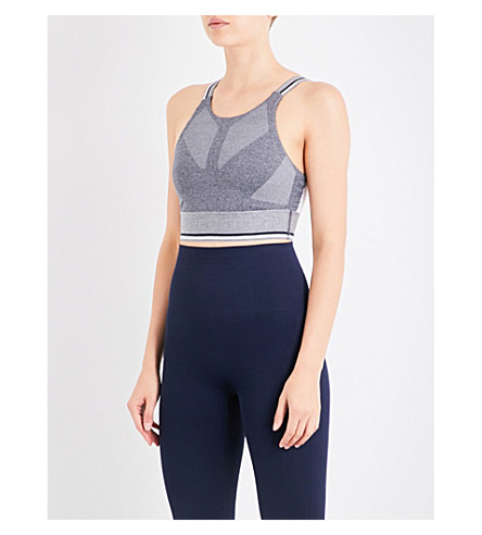 LNDR Glide contrast-panel jersey sports bra (Grey+marl