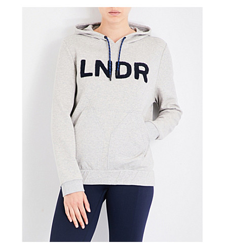 LNDR College logo-detail jersey-blend hoody (Grey+marl