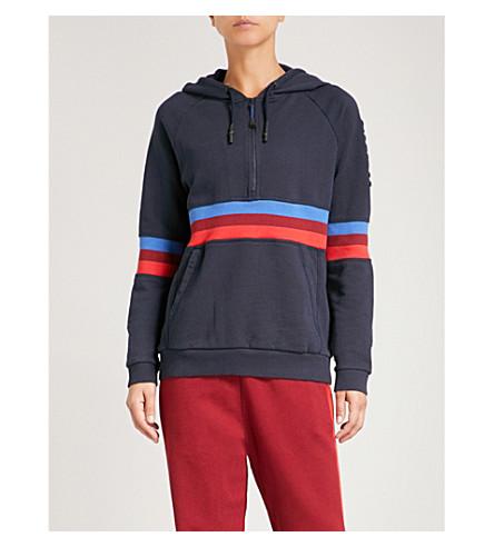 LNDR Striped cotton-jersey hoody (Navy