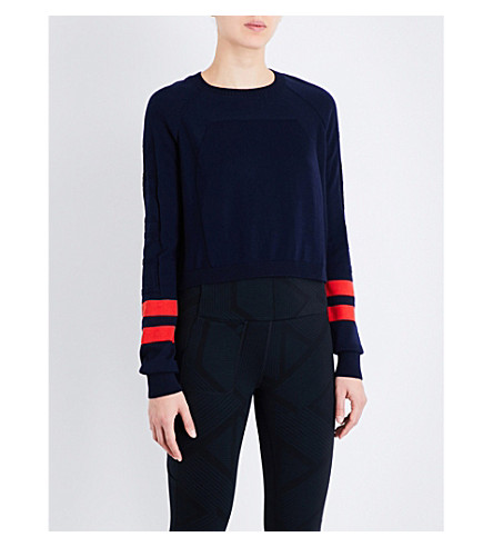 LNDR Ace merino wool-blend sweatshirt (Navy+coral