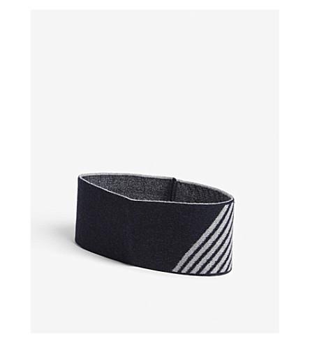 LNDR Striped merino wool headband (Navy