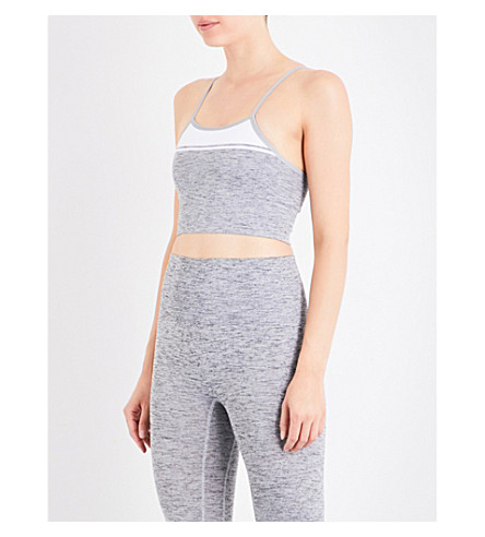 LNDR Yoga jersey sports bra (Grey+marl