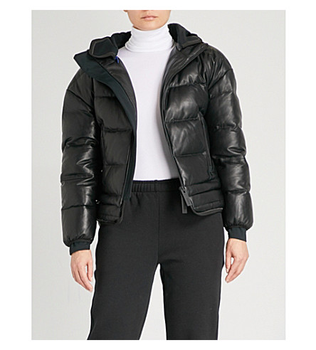 TEMPLA 帽 leather-down 滑雪夹克 (黑色