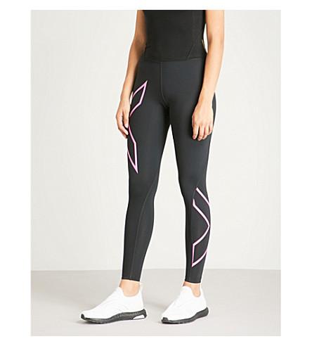 2XU X 打印压缩绑腿 (黑色 + 氟 + 粉红色
