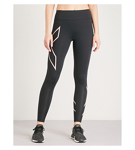 2XU Mid-rise compression leggings (Black+candlelight