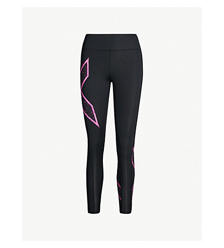 2XU Mid-rise compression leggings (Black galaxy rose violet