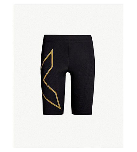 2XU Mid-rise drawstring-waist stretch-jersey running shorts (Black/gold