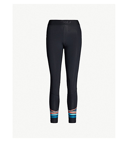 2XU Accelerate stretch-jersey compression leggings (Black sherbet teal