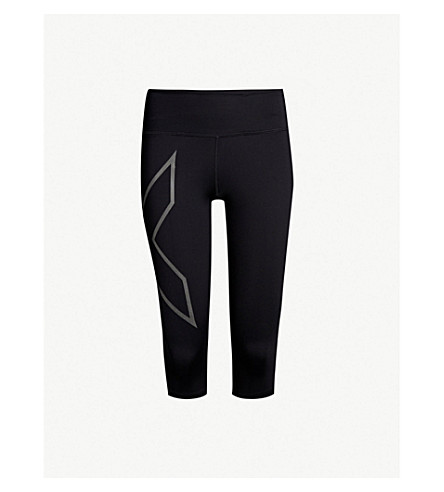 2XU Drawstring-waist slim-fit compression leggings (Black+black