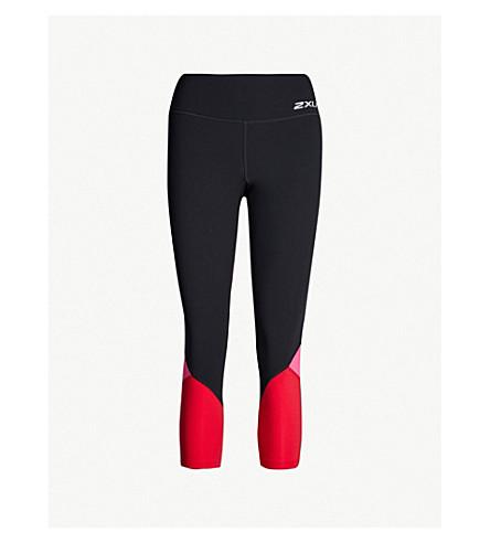 2XU 7/8 stretch-jersey compression leggings (Black fuschia lipstick