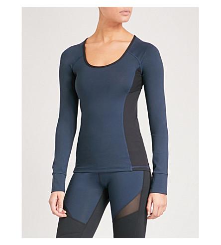 BODY BY BYRAM Selene mesh-panel stretch top (Navy+black