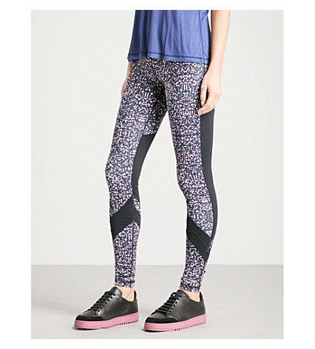 BODY BY BYRAM Electra mesh and jersey leggings (Print+black