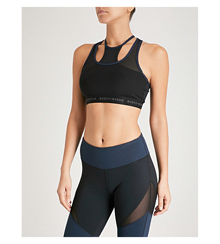 BODY BY BYRAM Maia double-strap stretch-jersey cropped top (Navy+black