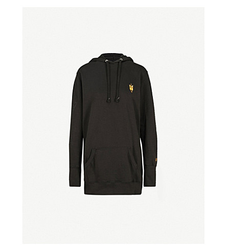 NICOLA ADAMS X EVERLAST Logo-embroidered cotton-blend hoody dress (Black