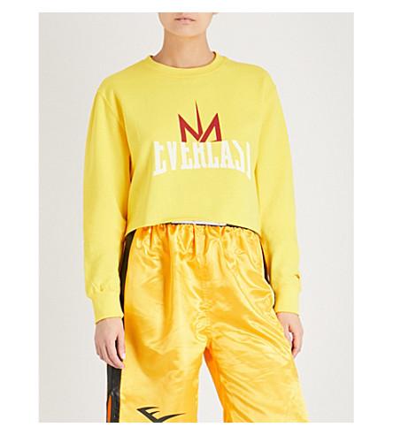 NICOLA ADAMS X EVERLAST Logo-print cropped cotton-blend sweatshirt (Yellow