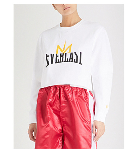 NICOLA ADAMS X EVERLAST Logo-print cropped cotton-blend sweatshirt (White