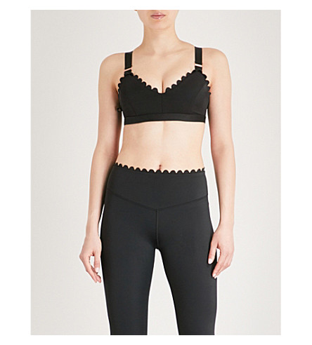 LURV I'm on Clouds scalloped-detail stretch-jersey sports bra (Black