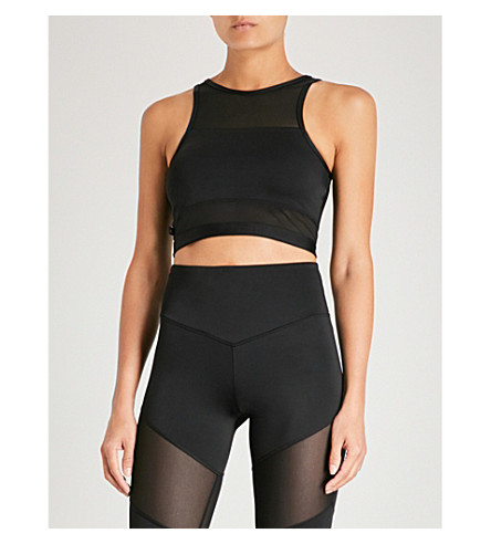 LURV Sound of Silence stretch-jersey crop top (Black