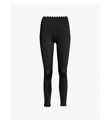 LURV I'm on Clouds scalloped-detail stretch-jersey leggings (Black