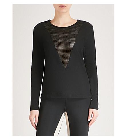 LURV Mesh panel stretch-cotton top (Black