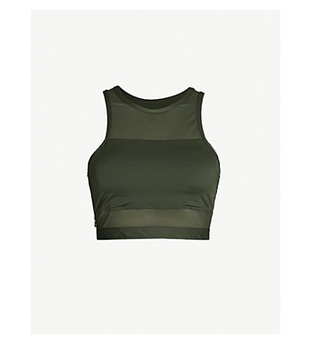 LURV Above The Clouse stretch-jersey crop top (Green