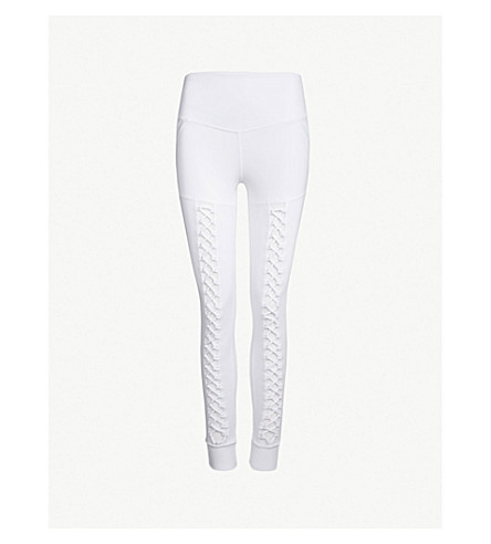 LURV Heavens Open mesh-panel stretch-jersey leggings (White