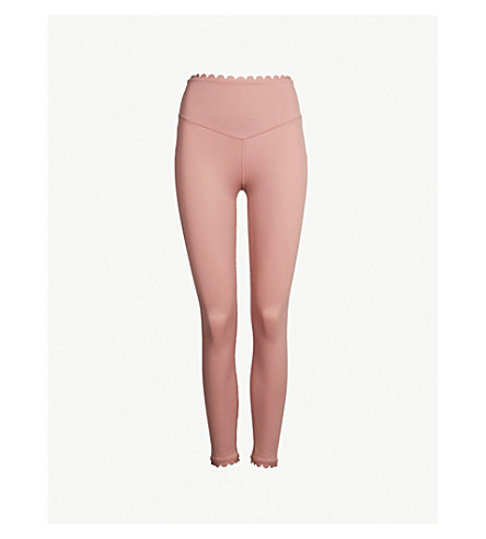 LURV I'm on Clouds scalloped-detail stretch-jersey leggings (Pink