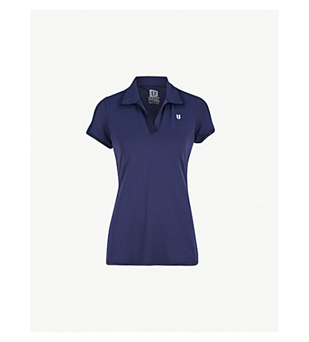 ELEVEN BY VENUS Mesh-trimmed stretch-jersey polo shirt (Admiral