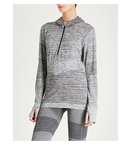ELEVEN BY VENUS Zipped stretch-knit hoody (Black