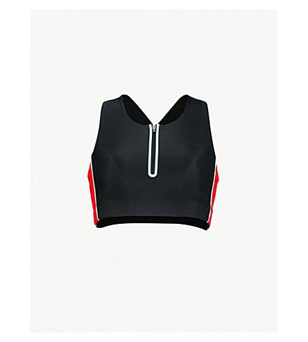LAAIN Nicole stretch-jersey sports bra (Black+frozen+red